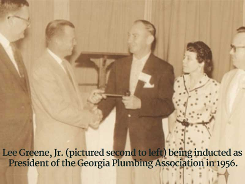 Lee Greene Jr. being inducted as President of the Georgia Plumbing Association in 1956.
